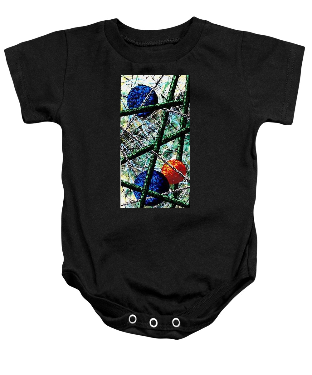 Contemporary / Abstract Baby Onesie featuring the painting Space-Time Continuum by Micah Guenther