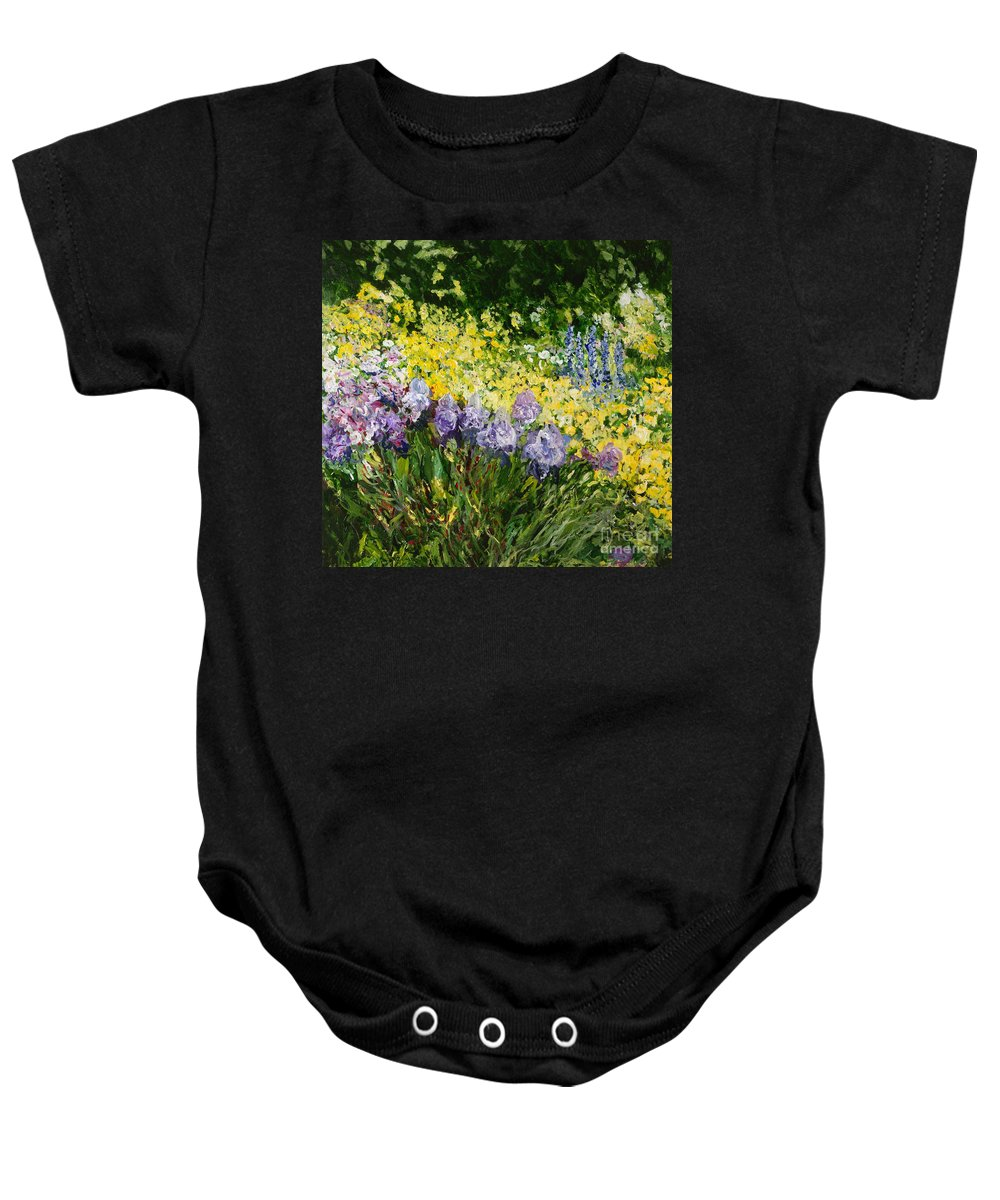 Landscape Baby Onesie featuring the painting Sunshine Blossoms by Allan P Friedlander