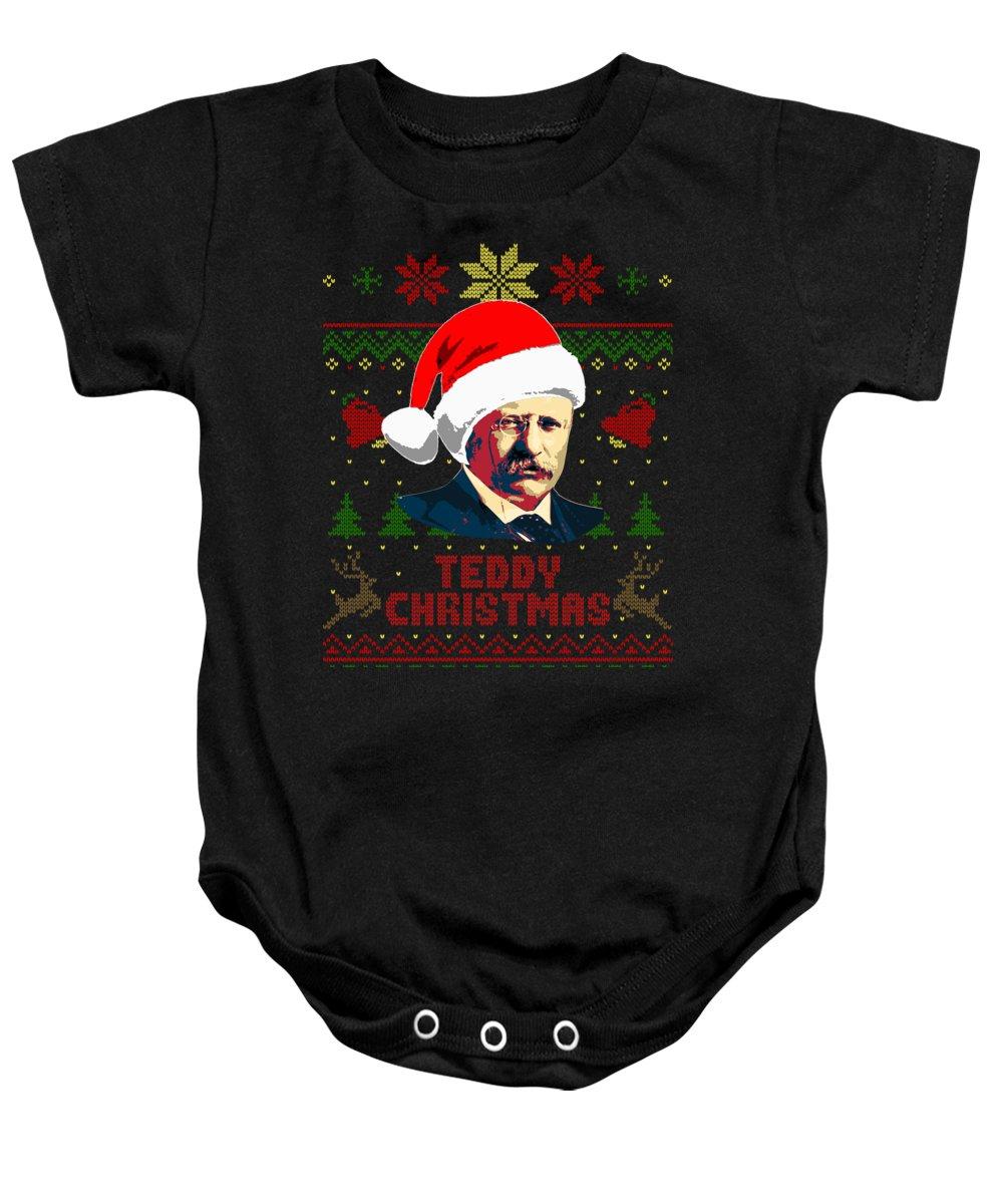 Santa Baby Onesie featuring the digital art Teddy Christmas Theodore Roosevelt by Filip Schpindel