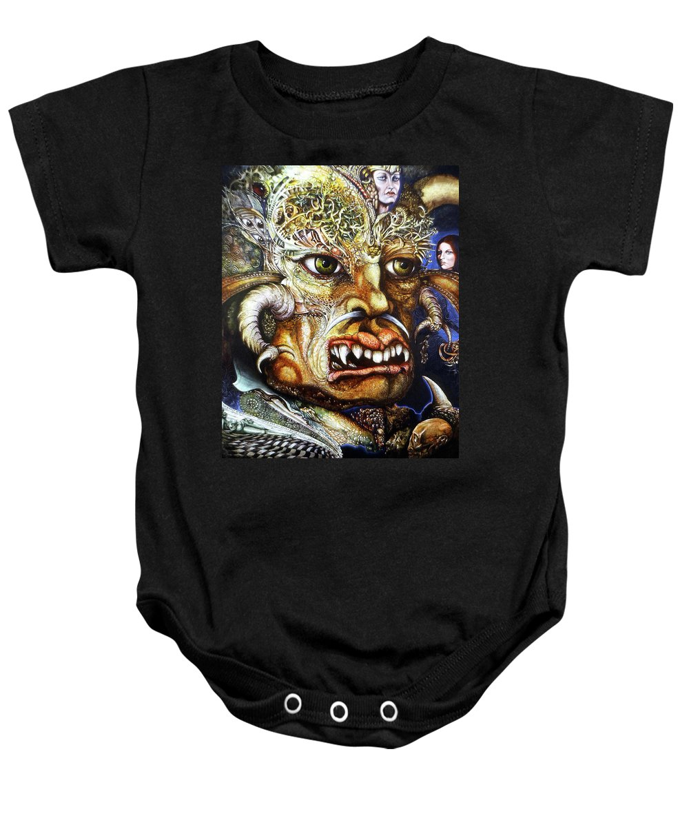Surrealism Fantastic+realism Mythology Myth Beast Religion Baby Onesie featuring the painting The Beast Of Babylon II by Otto Rapp