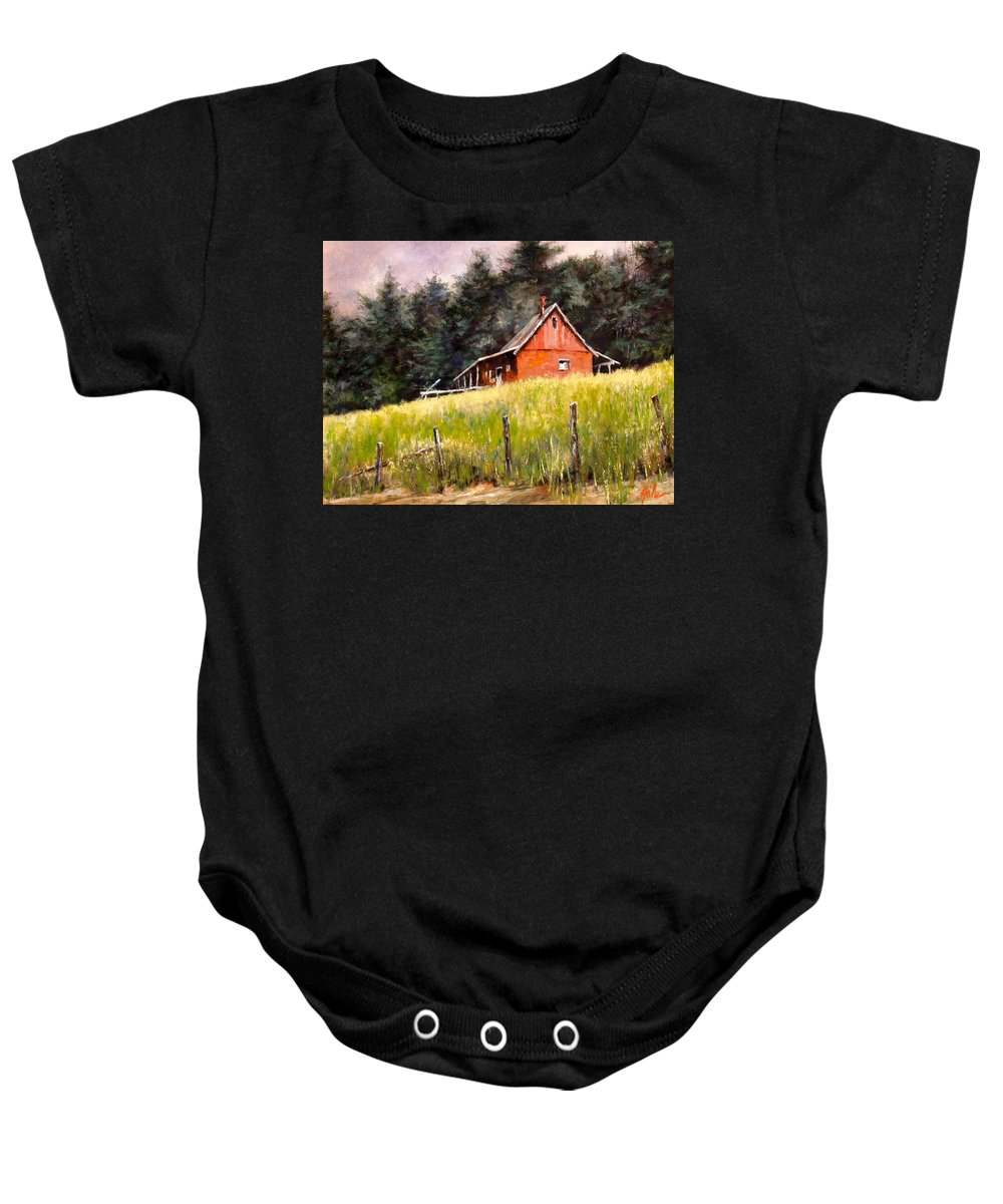 Landscape Baby Onesie featuring the painting The Red Coach Stop by Jim Gola