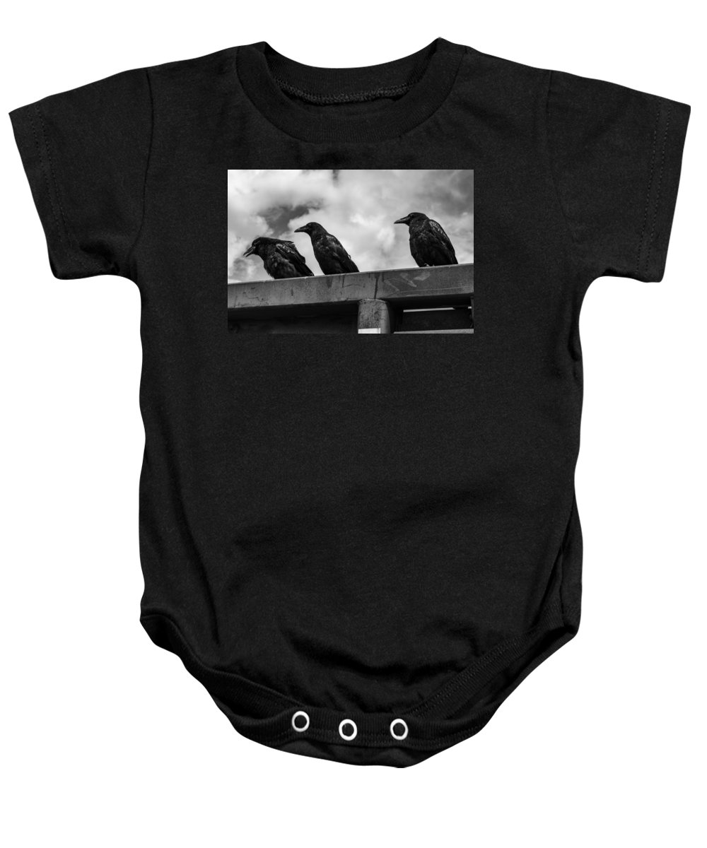 Three Baby Onesie featuring the photograph Three Crows 2 by Damon Dulewich