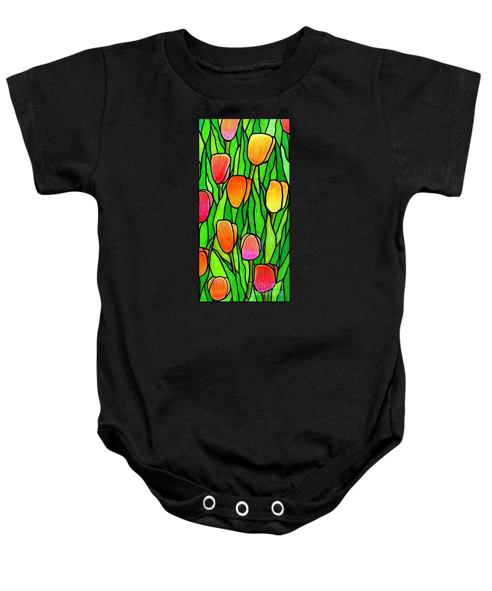 Tulips Baby Onesie featuring the painting Tulip Garden 2 by Jim Harris