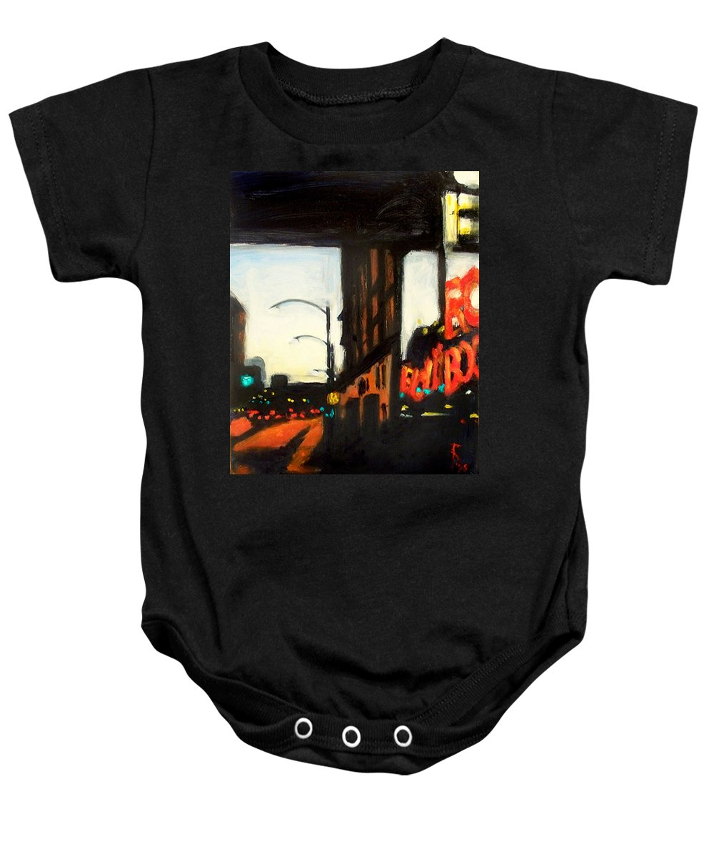 Rob Reeves Baby Onesie featuring the painting Twilight in Red and Black by Robert Reeves