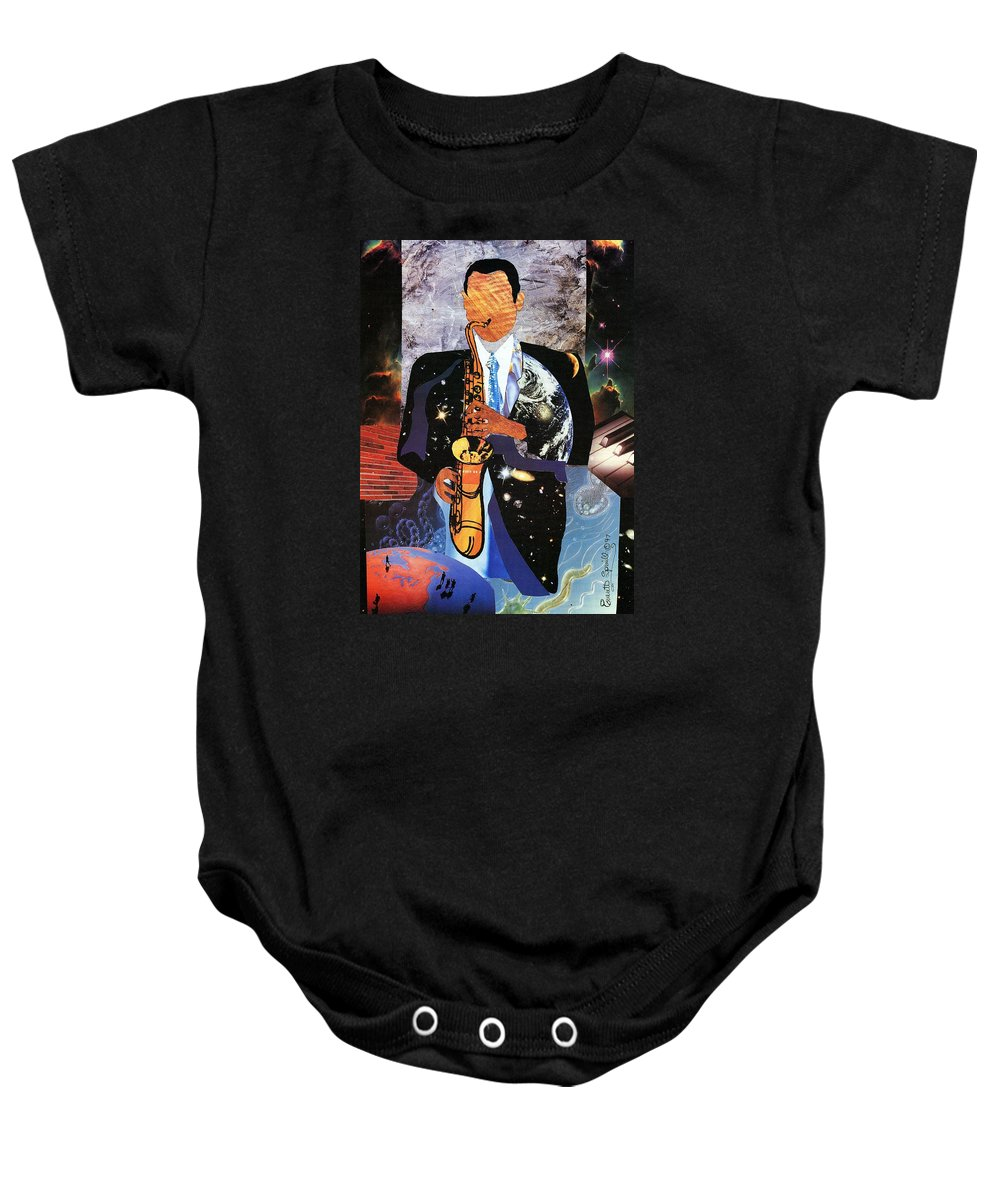 Everett Spruill Baby Onesie featuring the painting Universal Sax by Everett Spruill