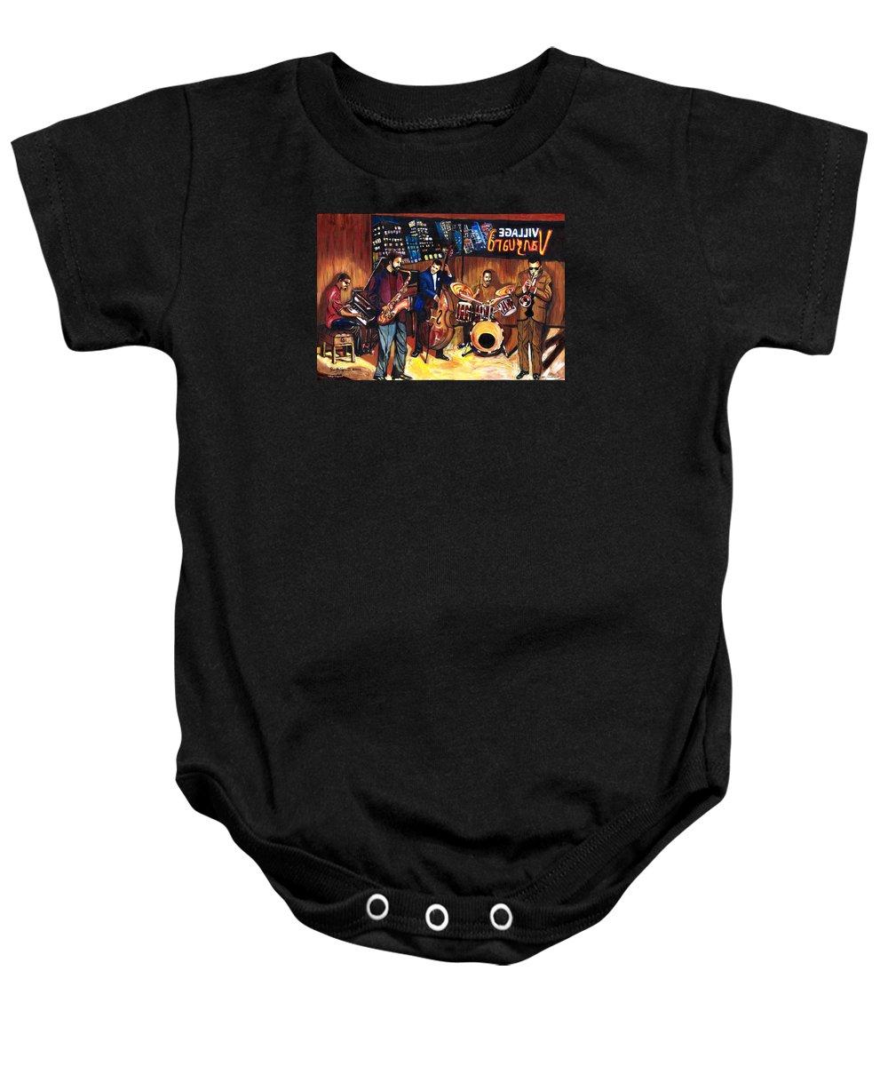 Everett Spruill Baby Onesie featuring the painting Village Vanguard by Everett Spruill