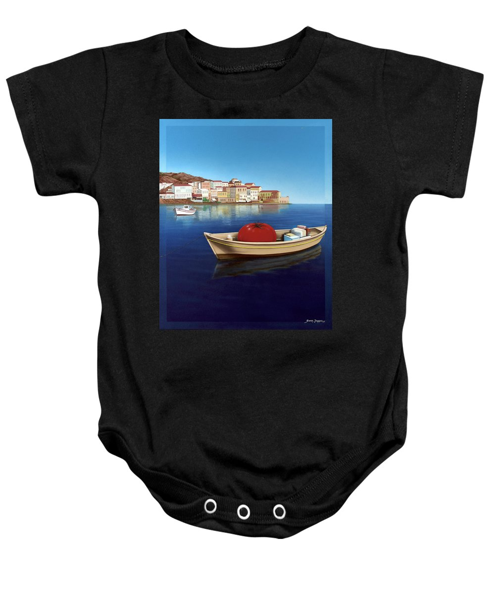 Mediterranean Baby Onesie featuring the painting Vine Ripened by Snake Jagger