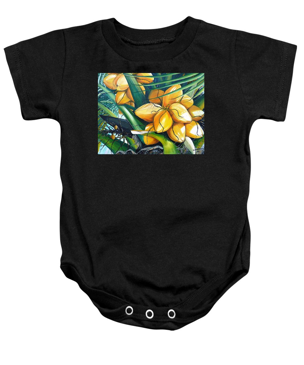 Coconut Painting Botanical Painting  Tropical Painting Caribbean Painting Original Painting Of Yellow Coconuts On The Palm Tree Baby Onesie featuring the painting Yellow Coconuts by Karin Dawn Kelshall- Best