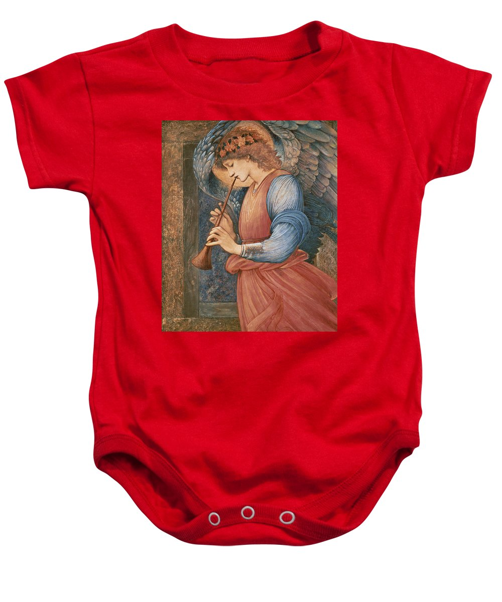 Angel Baby Onesie featuring the painting An Angel Playing A Flageolet by Sir Edward Burne-Jones