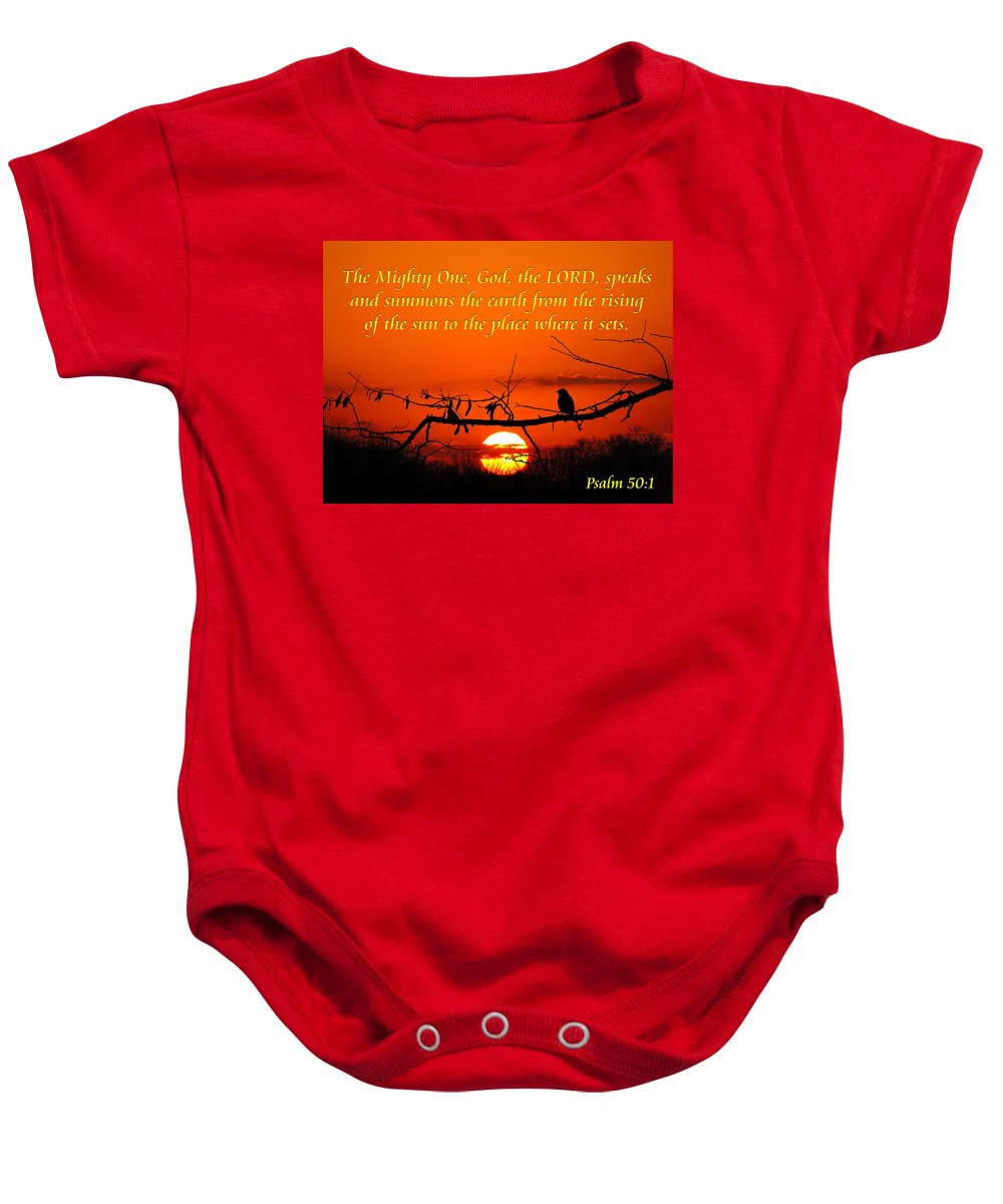 Inspirational Baby Onesie featuring the photograph Bluebird Dawn by Bill Pevlor