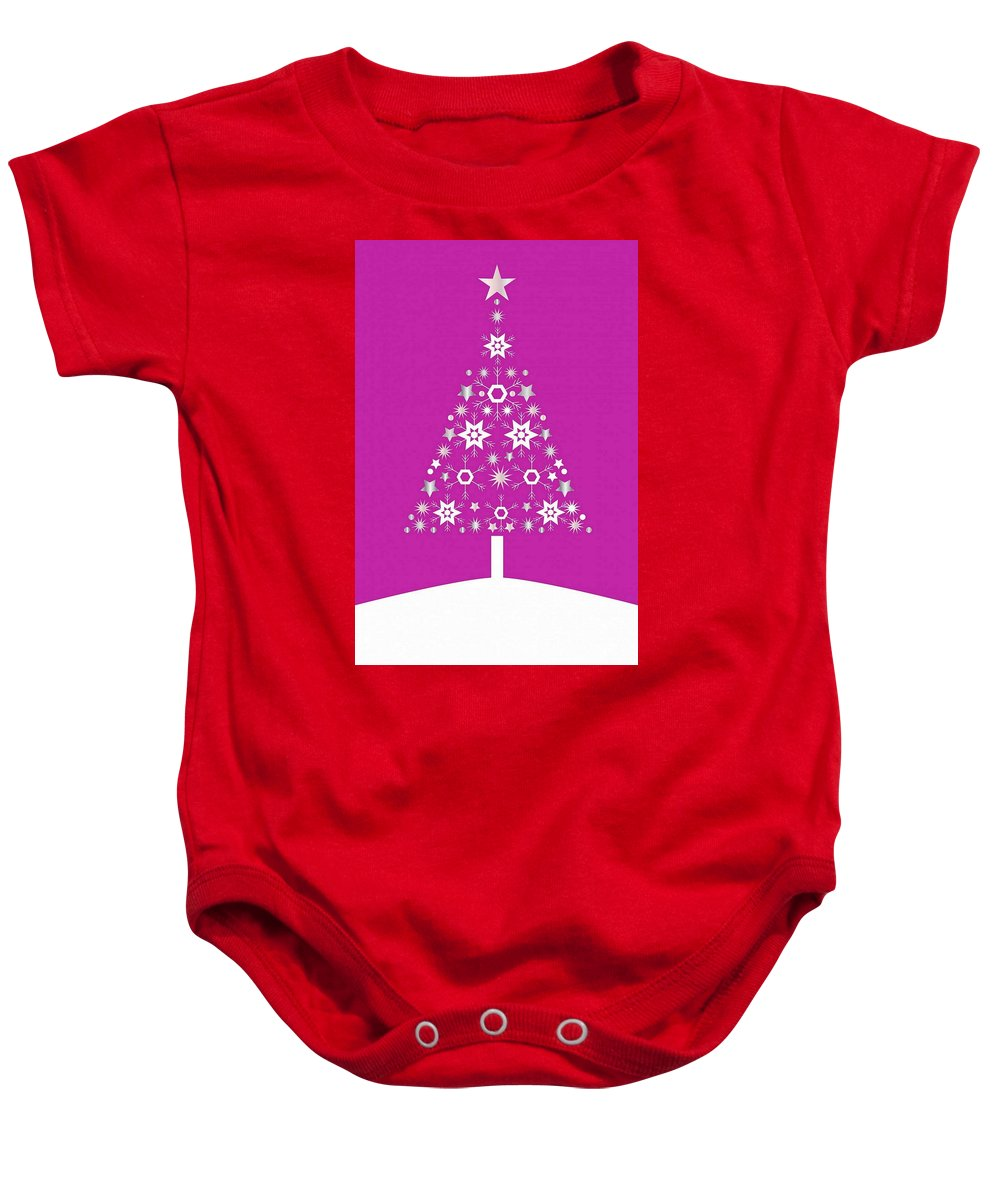 Tree Baby Onesie featuring the digital art Christmas Tree Made Of Snowflakes On Pink Background by Taiche Acrylic Art