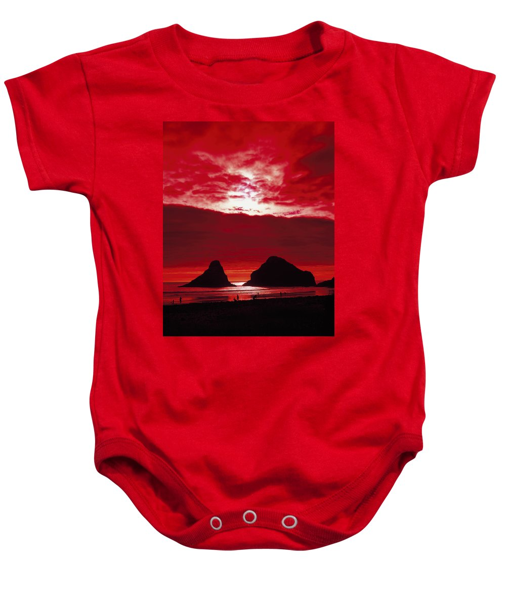 Oregon Baby Onesie featuring the photograph Crimson Sunset by Mountain Dreams