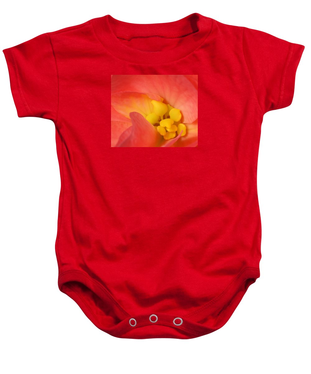 Begonia Close Up Baby Onesie featuring the photograph From The Heart by Bill Morgenstern