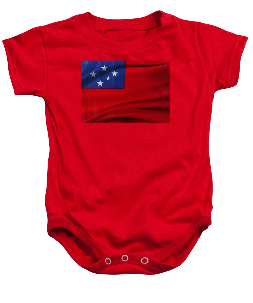 Banner Baby Onesie featuring the photograph Samoan Flag by Les Cunliffe