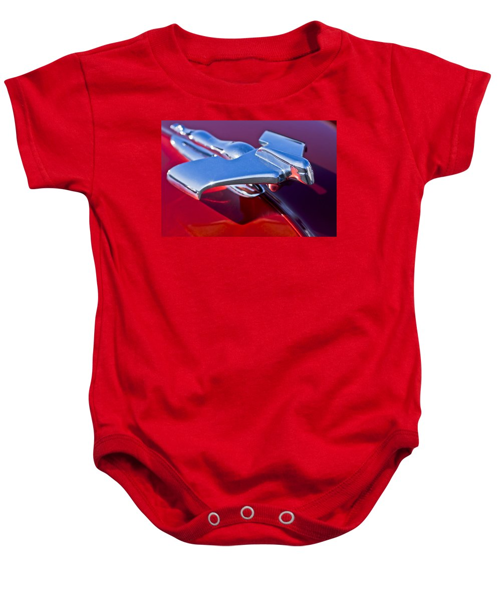 1950 Nash Baby Onesie featuring the photograph 1950 Nash Hood Ornament by Jill Reger