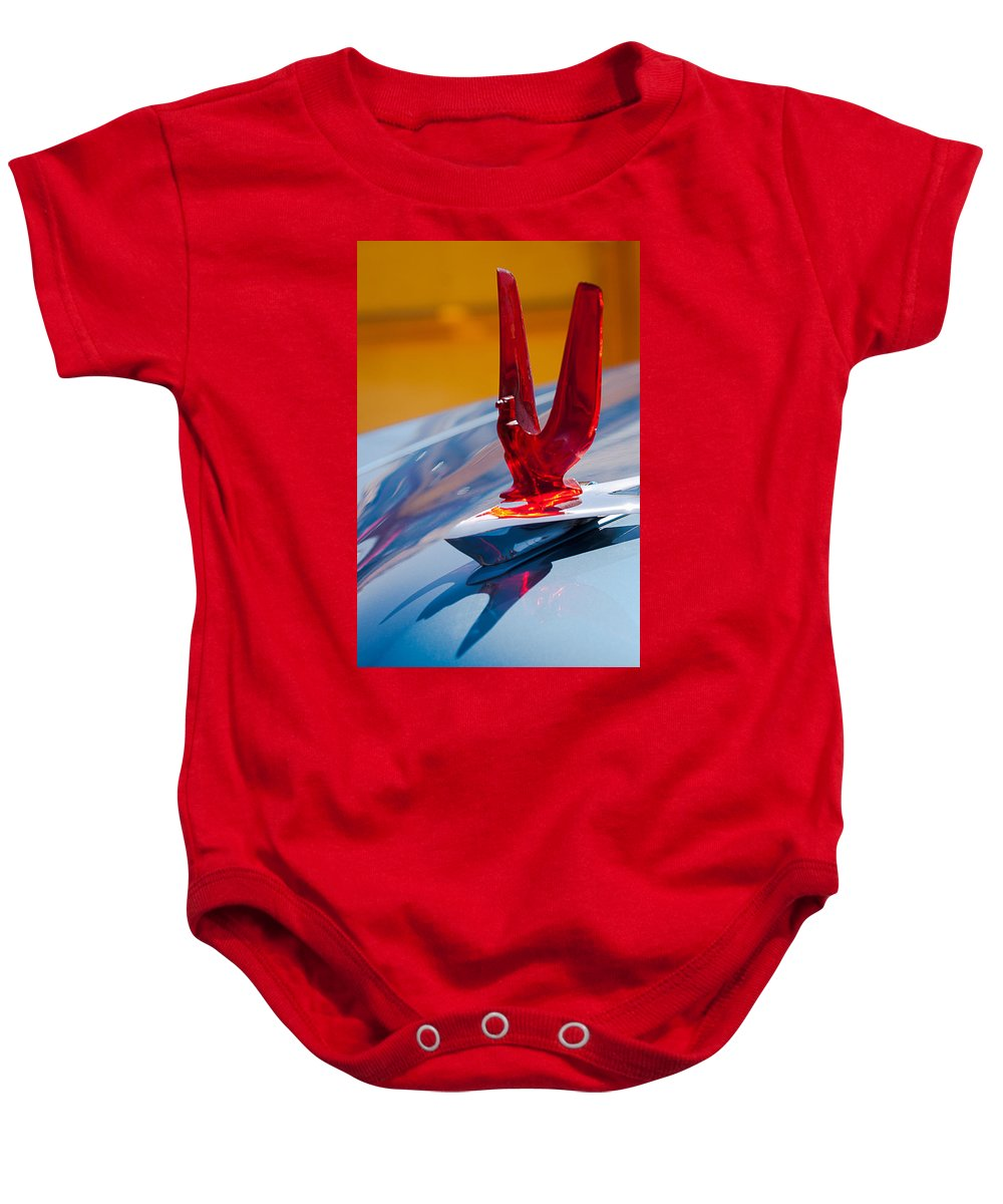 1953 Ford Baby Onesie featuring the photograph 1953 Ford Hood Ornament by Jill Reger