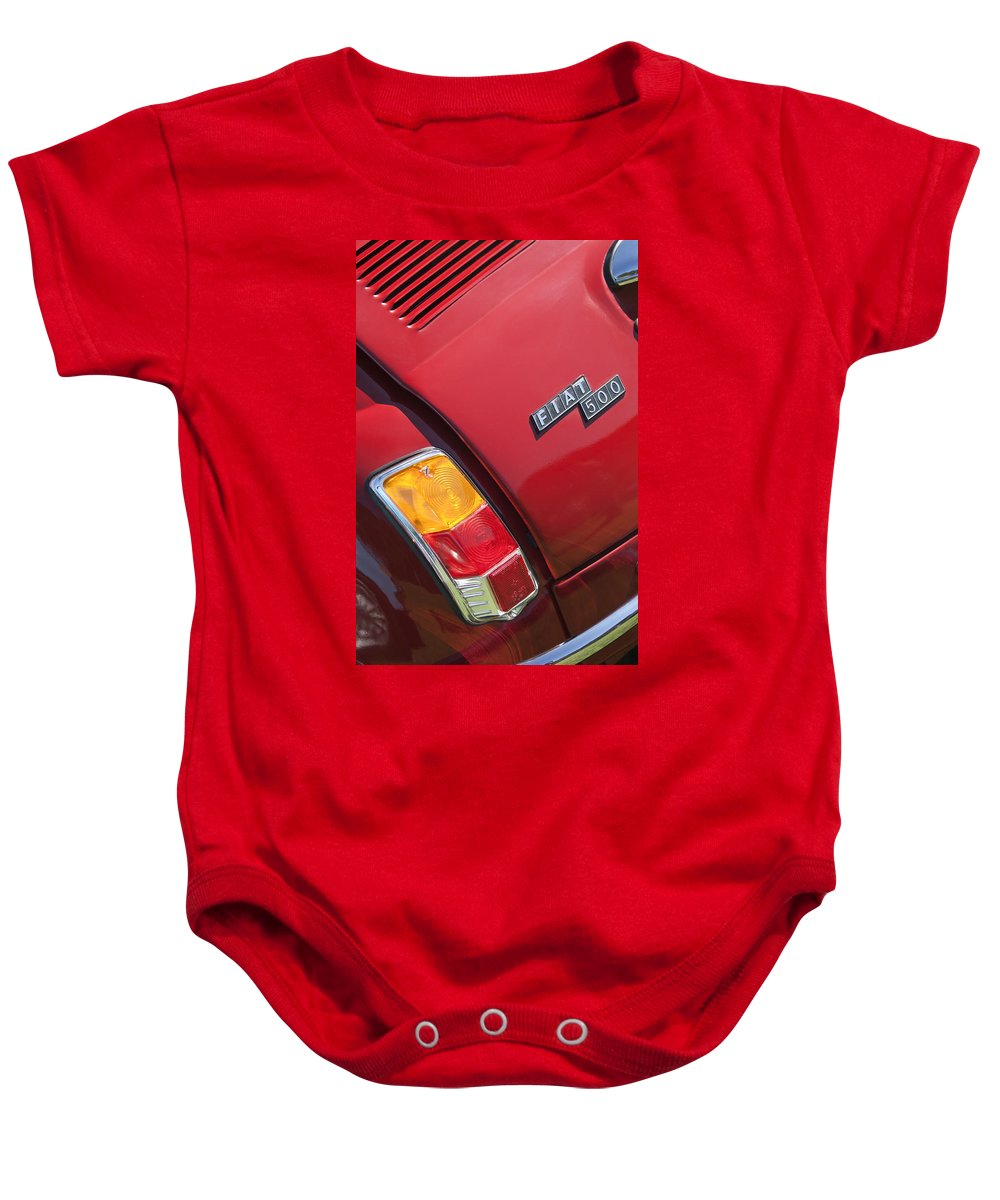1971 Fiat 500 Jolly Baby Onesie featuring the photograph 1971 Fiat 500 Jolly Taillight by Jill Reger