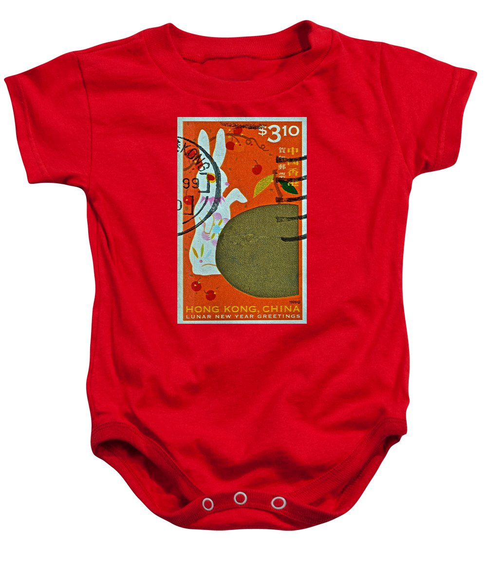 1999 Baby Onesie featuring the photograph 1999 Hong Kong Lunar New Year Stamp by Bill Owen