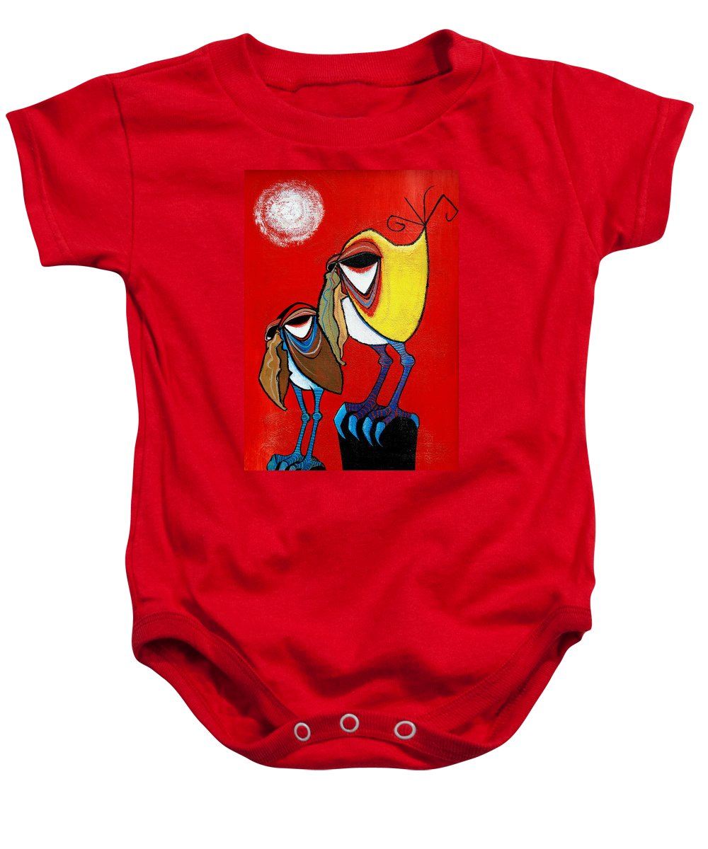 Birds Baby Onesie featuring the painting Toucan Do It Better Than One by Dave Coleman