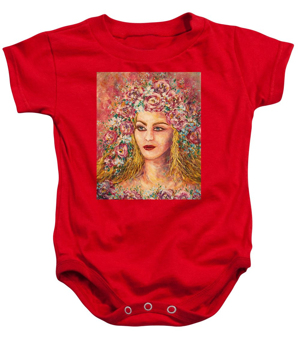 Goddess Baby Onesie featuring the painting Good Fortune Goddess by Natalie Holland