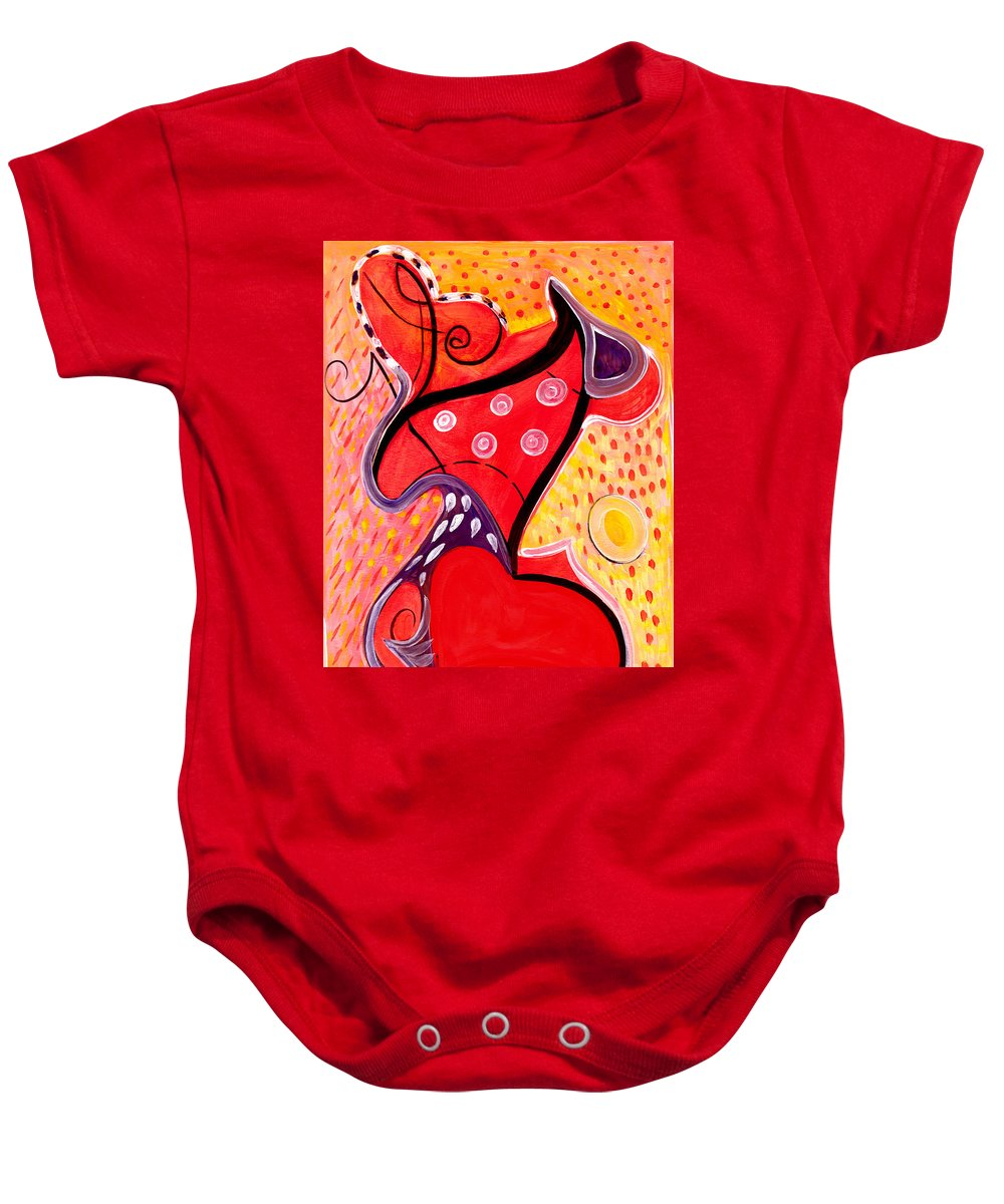 Abstract Art Baby Onesie featuring the painting Heart And Soul by Stephen Lucas