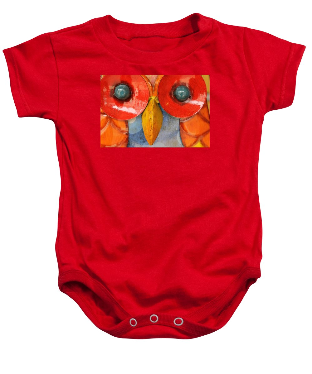 Owl Bird Eyes Sheet Metal Color Colorful Look Photograph Baby Onesie featuring the photograph Look Into My Eyes by Steve K