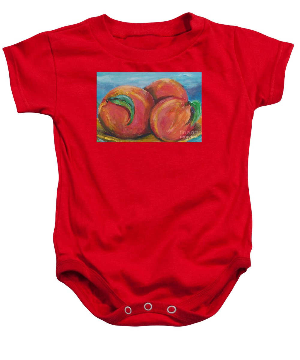 Impressionism Baby Onesie featuring the painting Peaches by Eric Schiabor