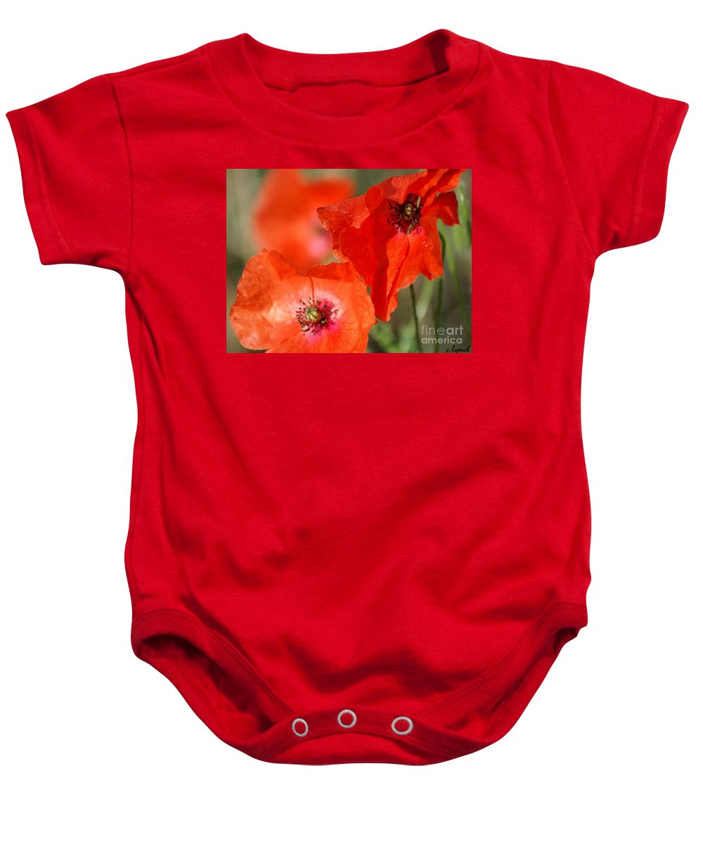 Poppies Baby Onesie featuring the photograph Red Poppies by Carol Lynch