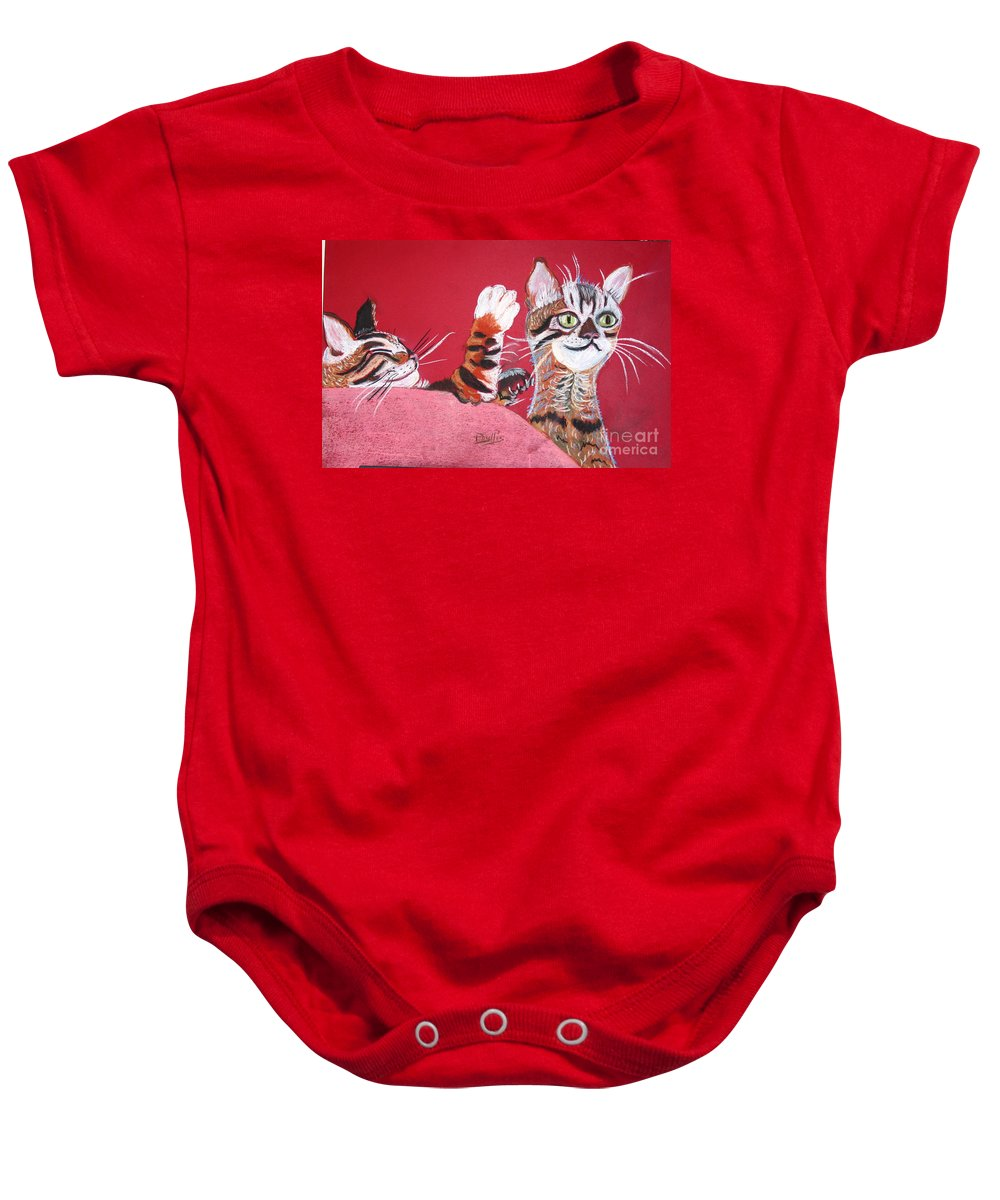 2 Bengal Cats. Red Background Baby Onesie featuring the pastel 2 Tora's by Phyllis Kaltenbach