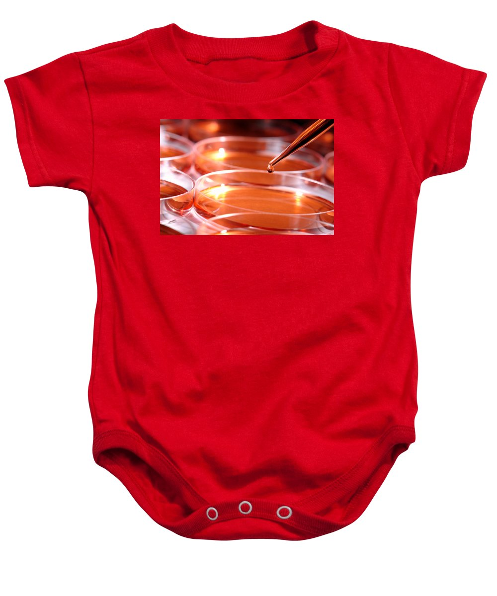 Bacteria Baby Onesie featuring the photograph Laboratory Experiment In Science Research Lab by Science Research Lab By Olivier Le Queinec