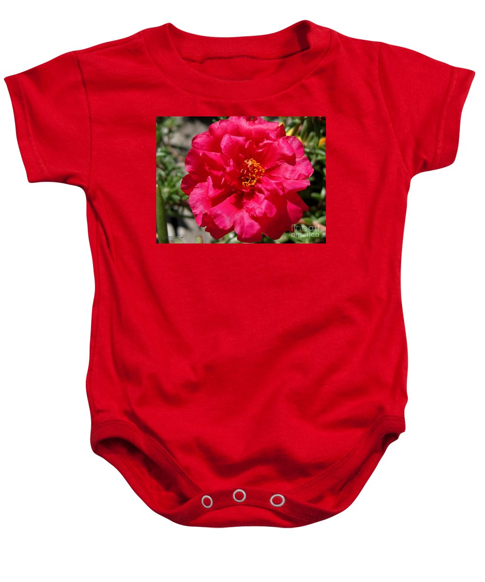 Mccombie Baby Onesie featuring the photograph Portulaca Named Sundial Fuchsia by J McCombie