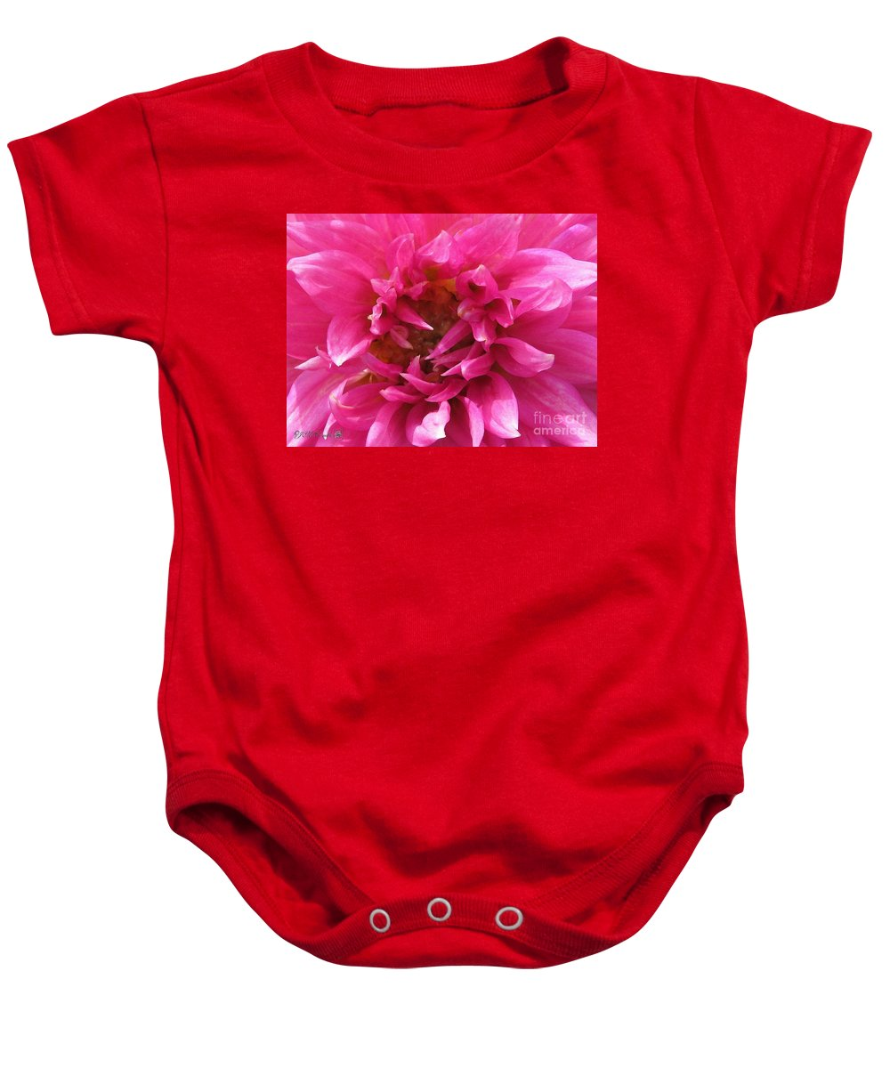 Mccombie Baby Onesie featuring the painting Dahlia Named Pretty In Pink by J McCombie