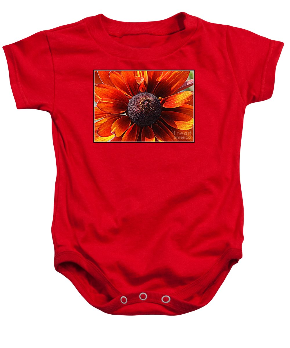 Susans Baby Onesie featuring the photograph Brown Eyed Susan by Dora Sofia Caputo Photographic Design and Fine Art