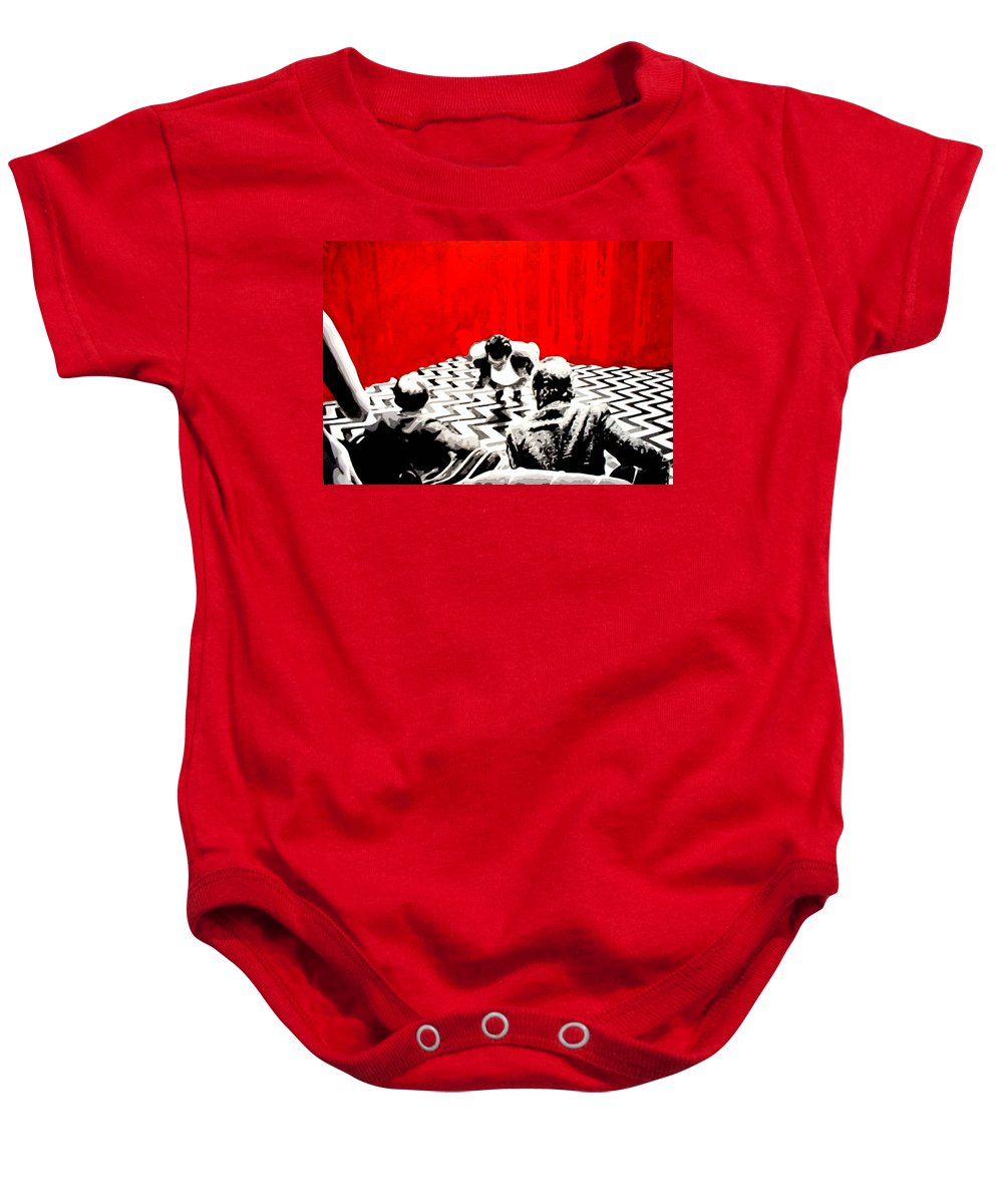 Laura Palmer Baby Onesie featuring the painting Black Lodge by Luis Ludzska