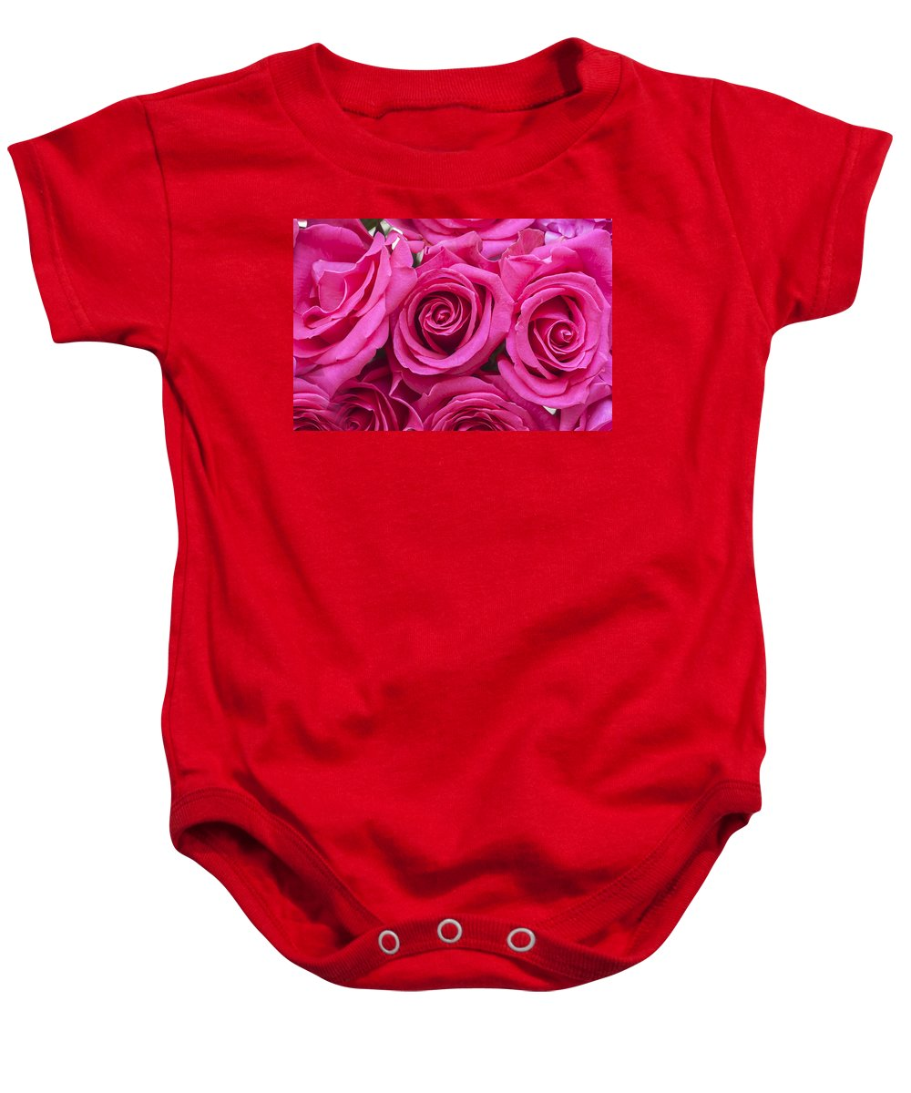 Pink Roses Baby Onesie featuring the photograph A Bouquet Of Pink Roses by Rich Franco