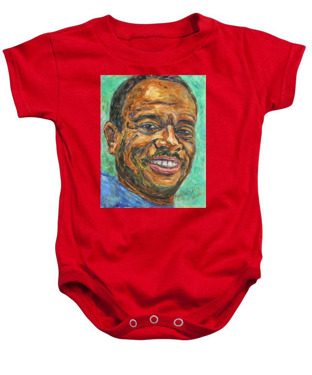 African American Baby Onesie featuring the painting A Teacher From Atlanta Ga by Xueling Zou