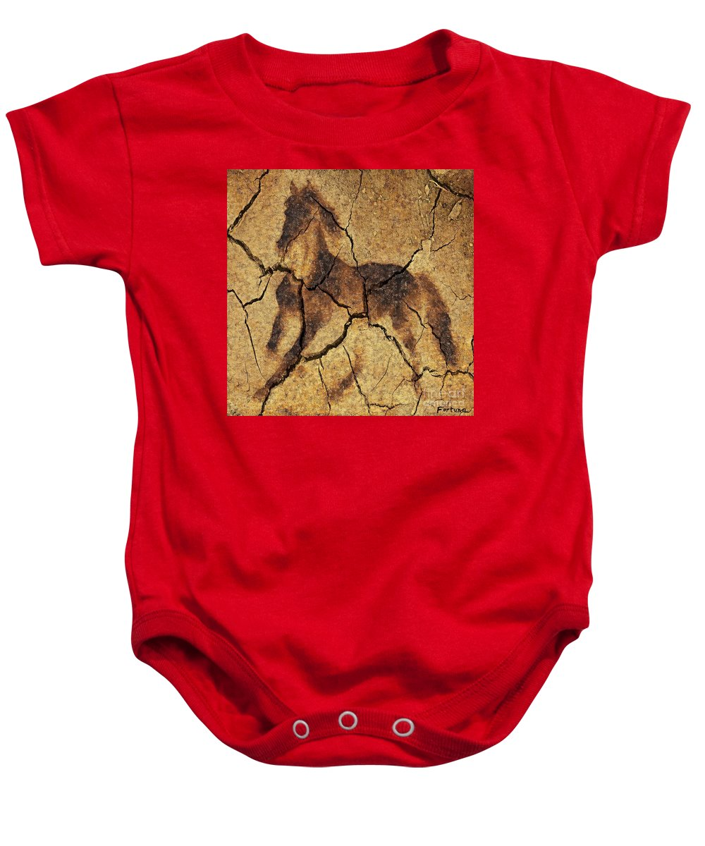 Animal Baby Onesie featuring the digital art A Wild Horse - Wal Art by Dragica Micki Fortuna