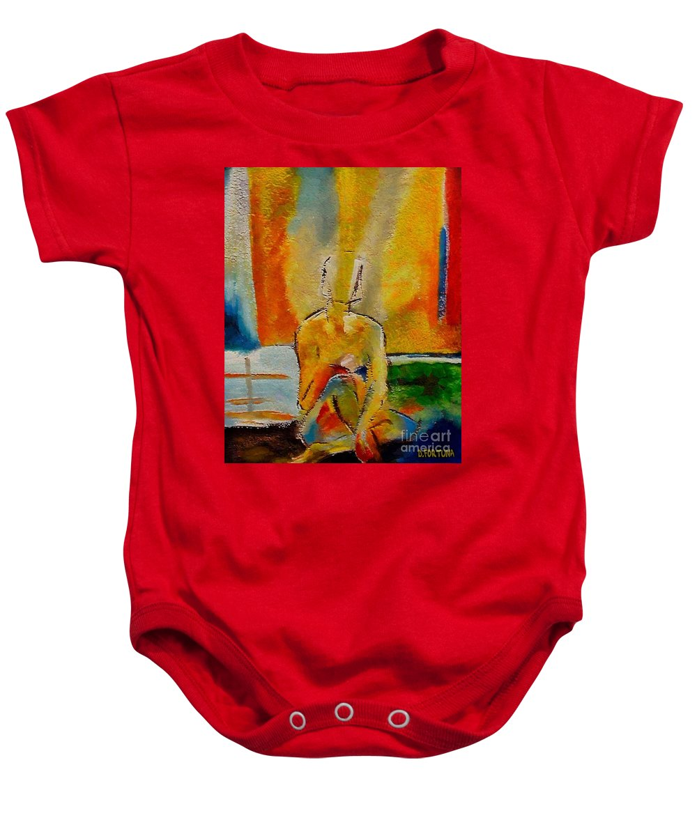 Nude Baby Onesie featuring the painting Abandoned by Dragica Micki Fortuna