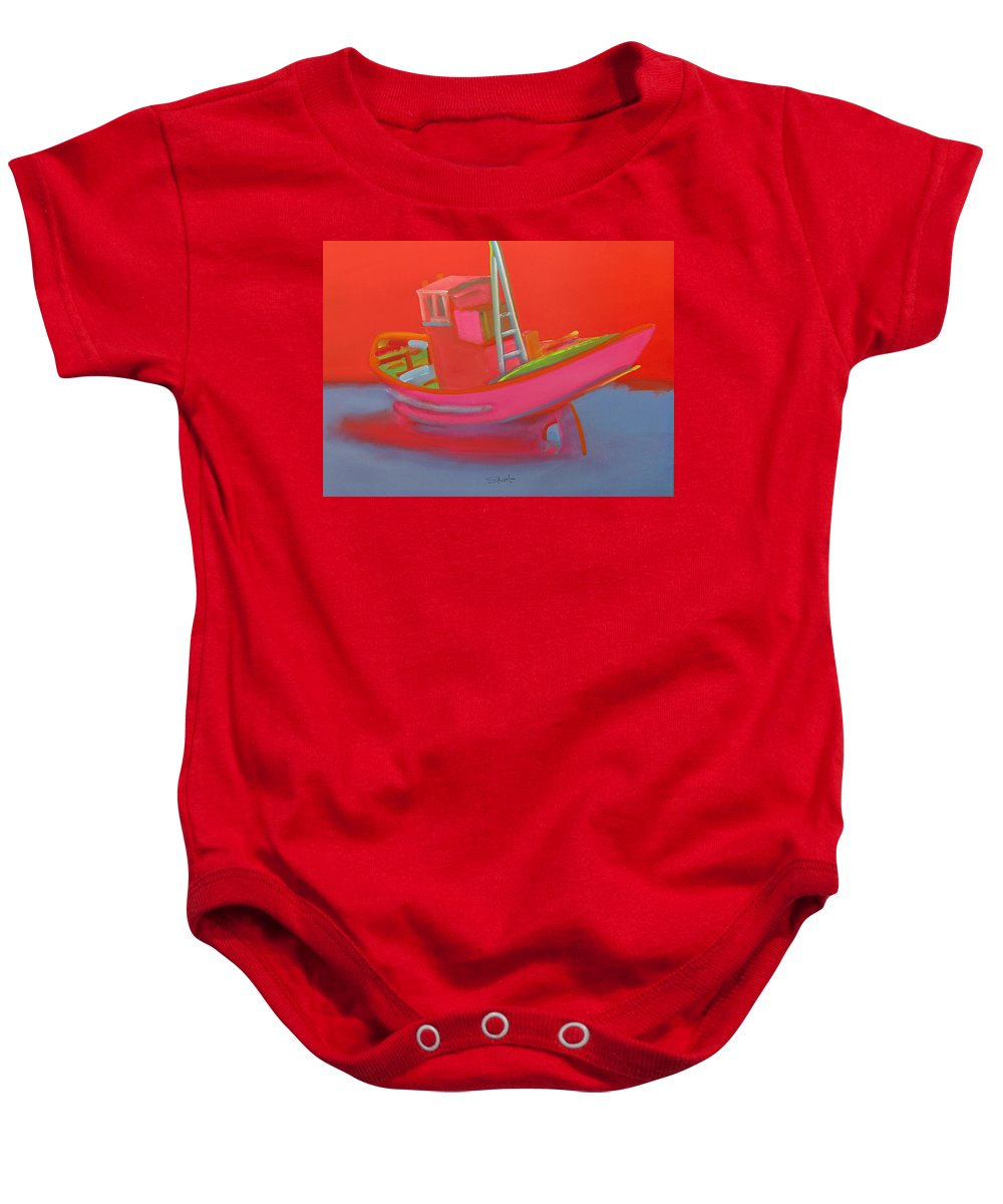 Fishing Baby Onesie featuring the painting Abandoned Red Fishing Trawler by Charles Stuart