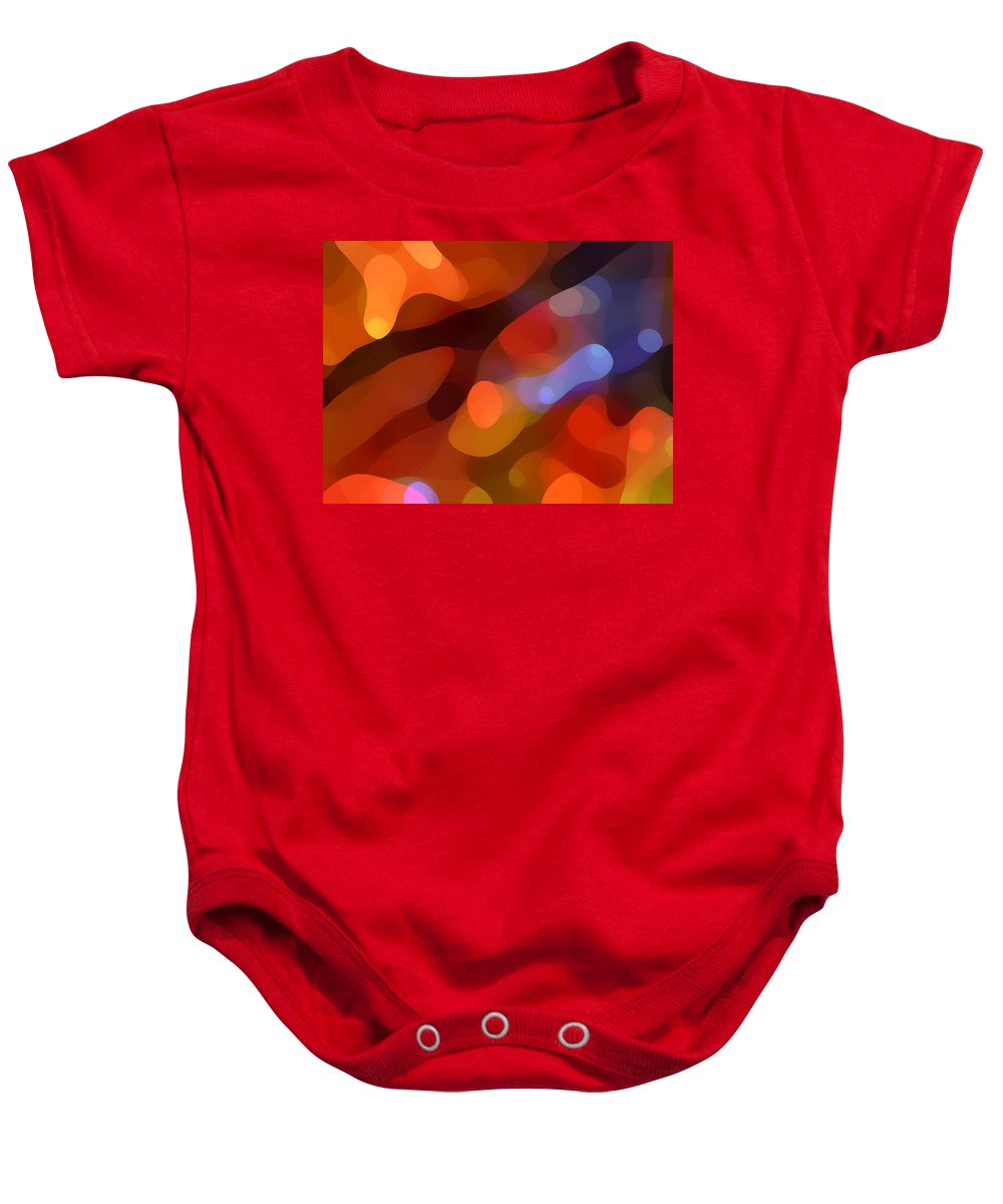 Abstract Art Baby Onesie featuring the painting Abstract Fall Light by Amy Vangsgard