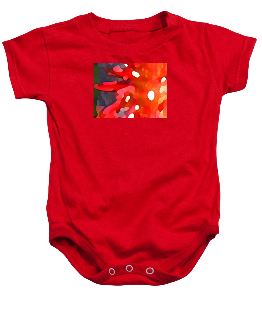 Bold Baby Onesie featuring the painting Abstract Red Sun by Amy Vangsgard
