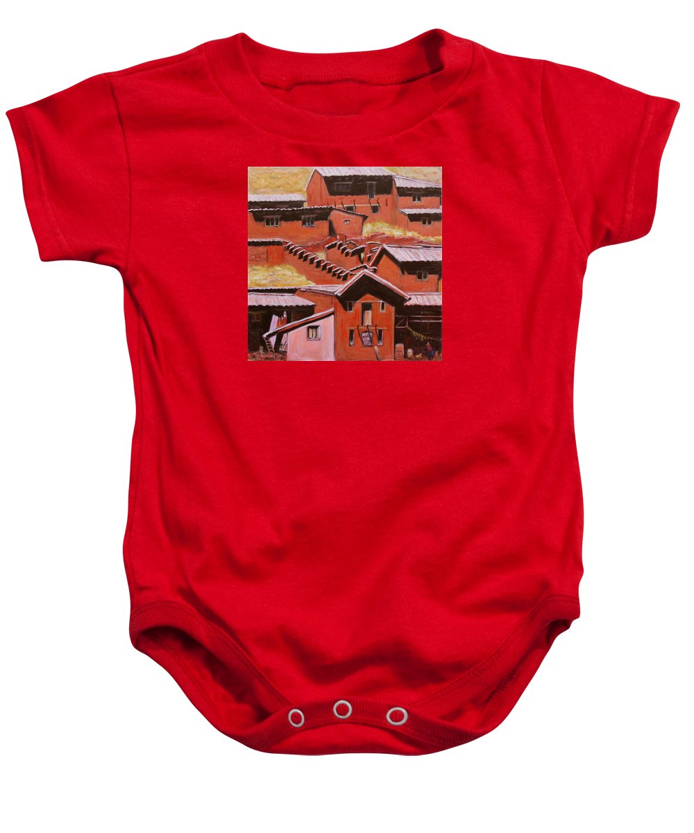 Landscape Baby Onesie featuring the painting Adobe Village - Peru Impression II by Xueling Zou