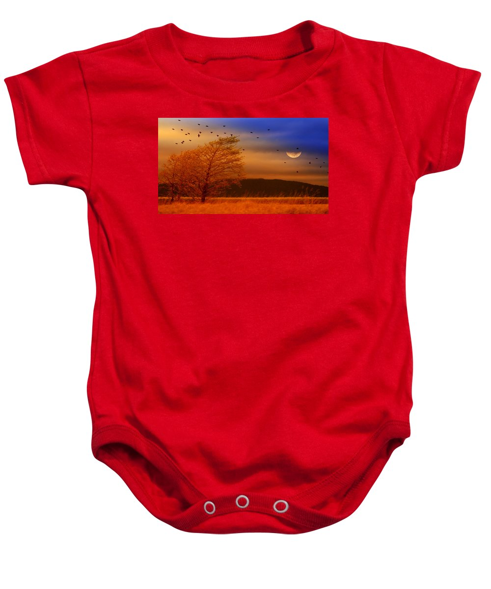 Landscape Baby Onesie featuring the photograph Against the Wind by Holly Kempe