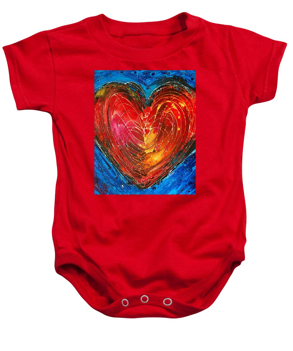 Heart Baby Onesie featuring the painting Always by Sharon Cummings