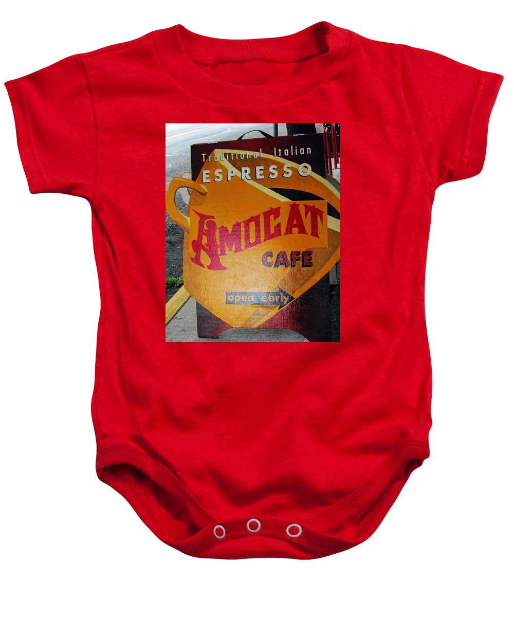 Espresso Baby Onesie featuring the photograph Amocat Cafe by Tikvah's Hope