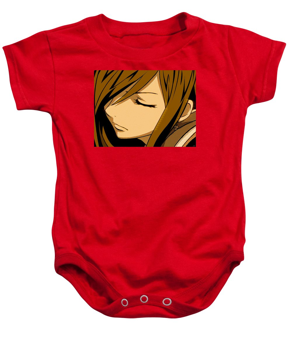 Comics Baby Onesie featuring the painting Anime Girl Brown by Tony Rubino
