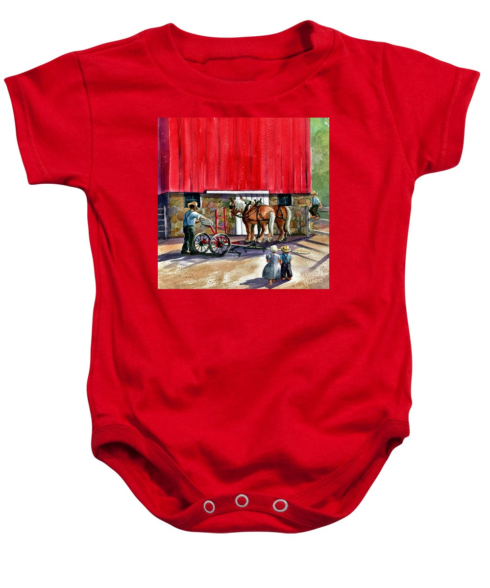 Amish Baby Onesie featuring the painting Another Way Of Life by Marilyn Smith