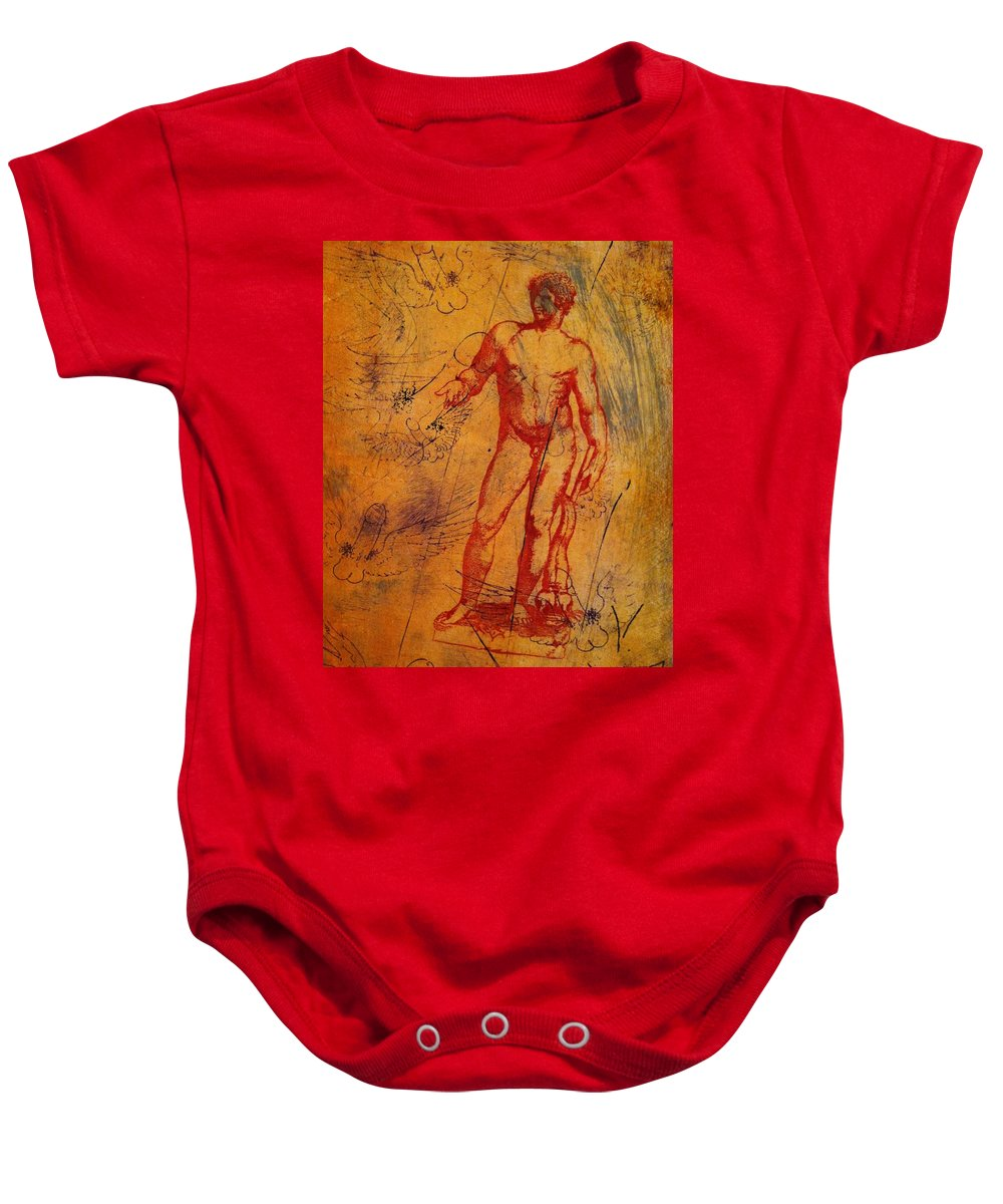 An Original Lithograph Monoprint Baby Onesie featuring the mixed media Antinous II by Carmine Santaniello