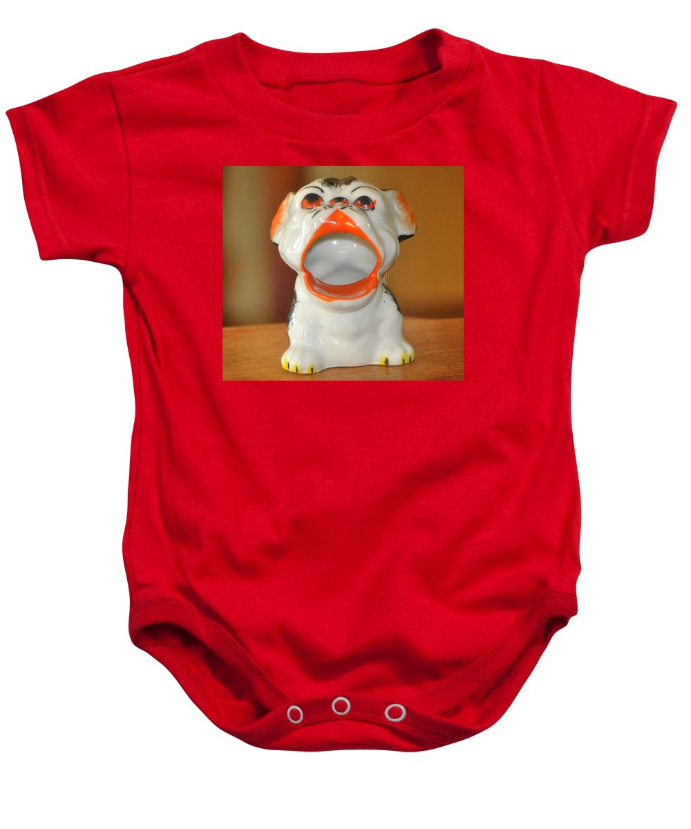 Antique Baby Onesie featuring the photograph Antique Dog Ashtray by Jay Milo