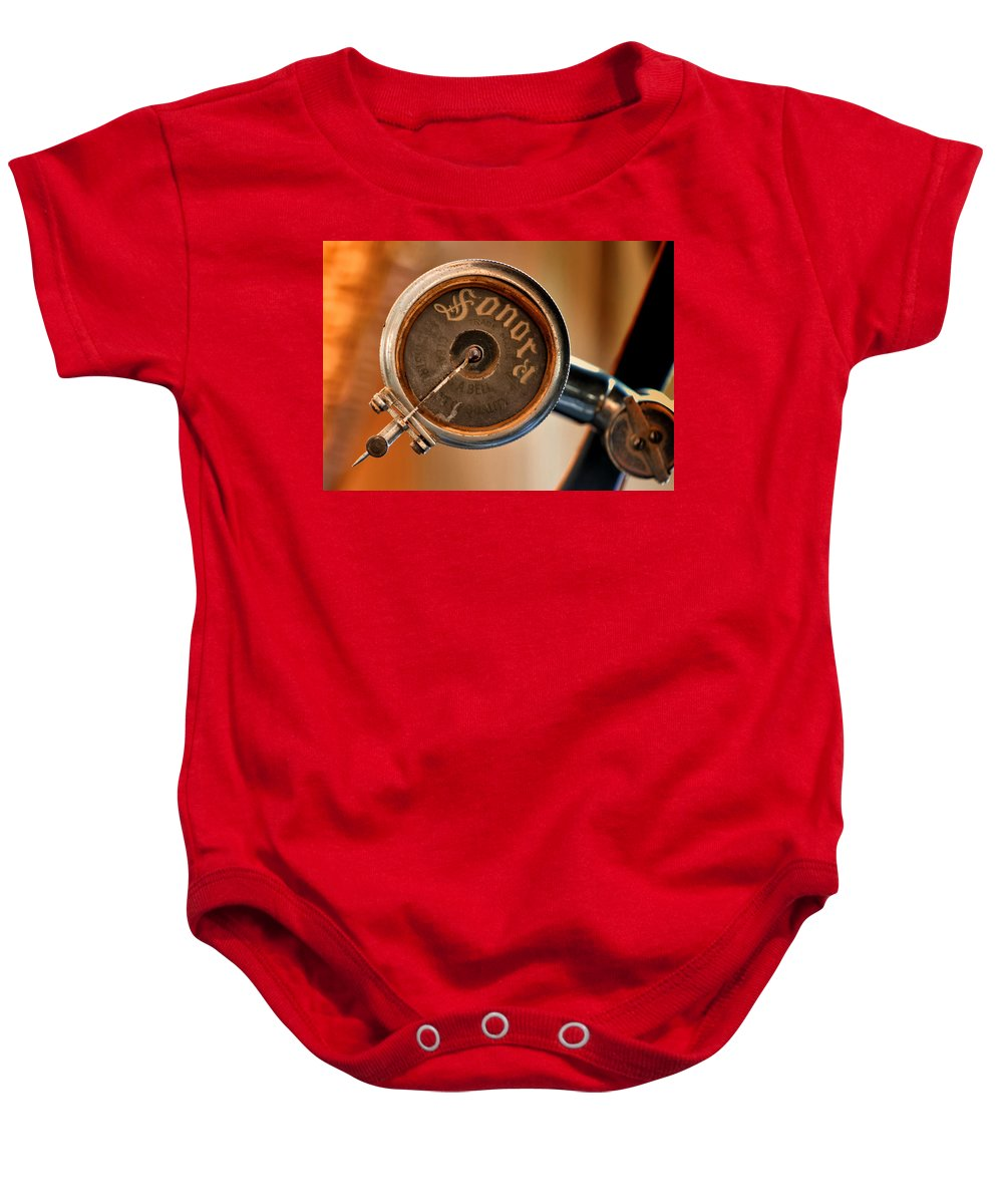 Antique Baby Onesie featuring the photograph Antique Sonora Record Player by Stephen Anderson